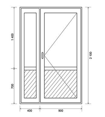 Одностворчатая дверь с глухой боковой частью